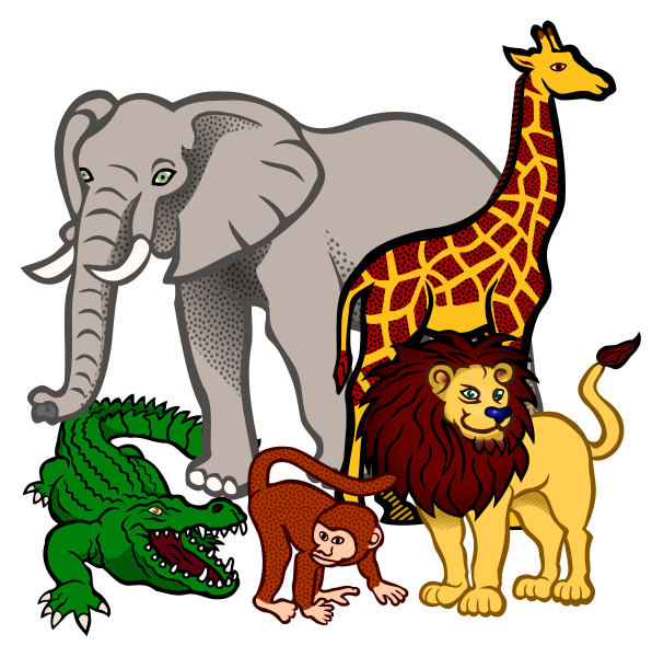 african-animals-coloured